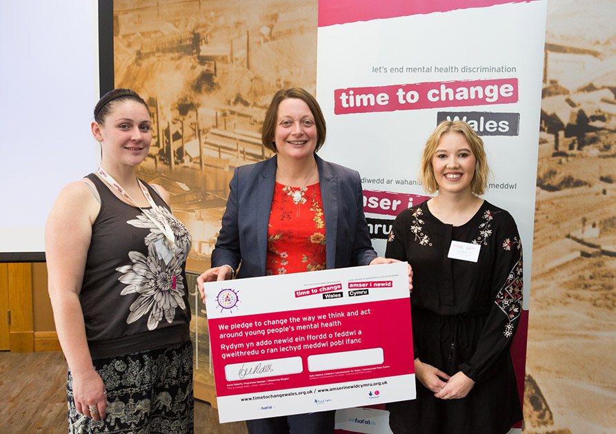 The Children's Commissioner for Wales with Time to Change Wales young champions Jess Matthews and Izzy Stevenson
